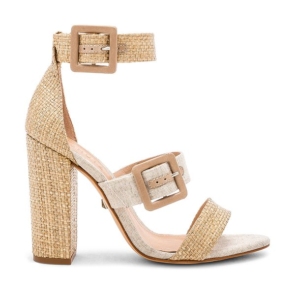 "Schutz Sarah Heel in beige - ""Textile upper with leather sole. Ankle straps with..."