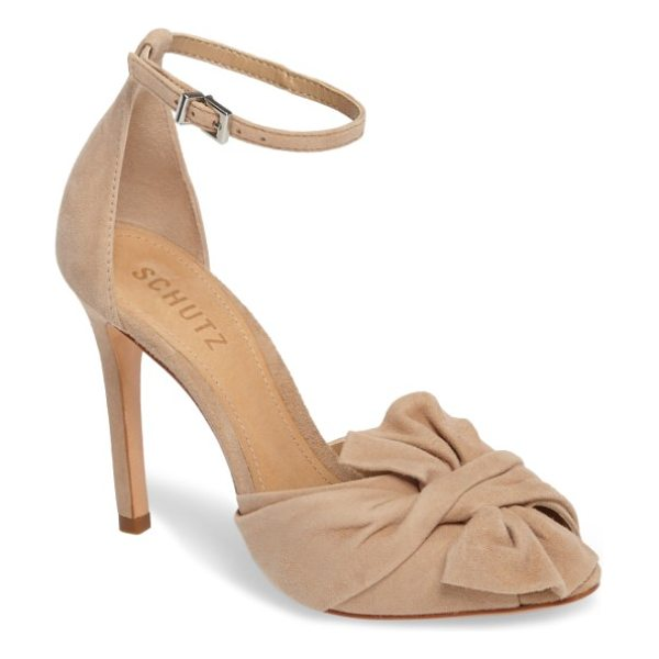 Schutz schultz natally sandal in amber light - A slightly oversized knot of velvety suede adds chic,...
