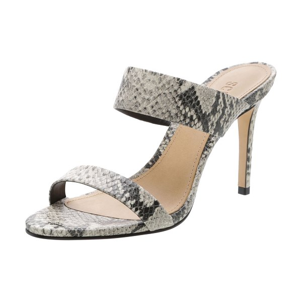 Schutz Leia Snake-Embossed Strappy Slide Sandals in natural