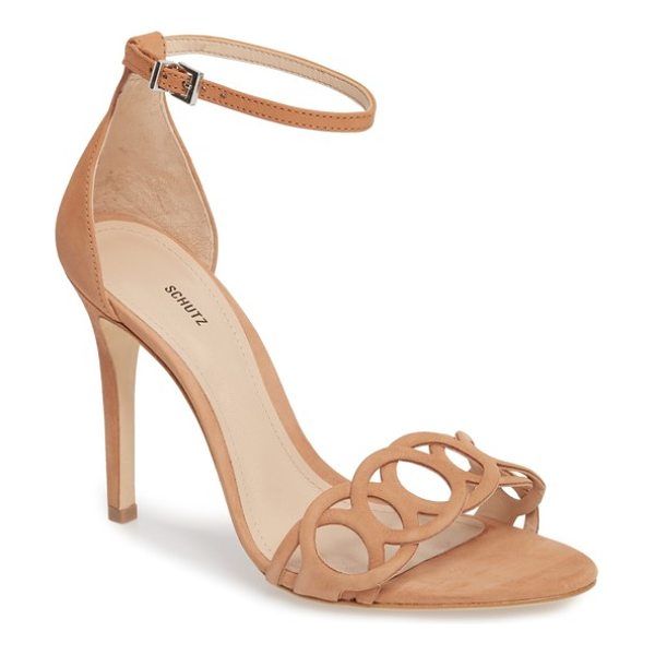 Schutz sthefany ankle strap sandal in beige - Interlocking circles add geometric style to the toe of...
