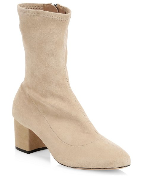 Schutz stretch suede block heel booties in sand - Sock booties with a block heel crafted out of stretch...