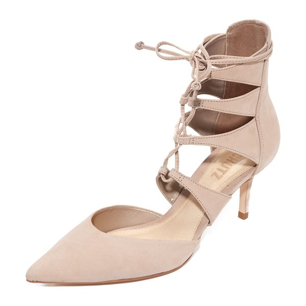 Schutz suzin lace up pumps in neutral - Smooth nubuck Schutz pumps in a refined, pointed-toe...