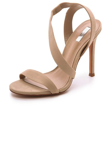 Schutz Tabacema nubuck sandals in oyster - Sleek straps lend effortless elegance to simple nubuck...