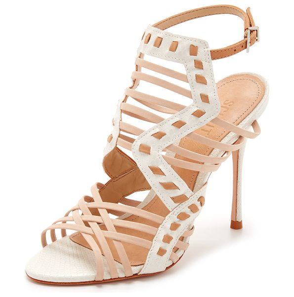 Schutz Tamiris sandals in pearl/light wood/tanino ii - Delicate woven straps and snake embossed trim composes...