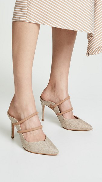 Schutz twila mules in natural - Fabric: Jacquard Rounded straps Leather trim Mules...
