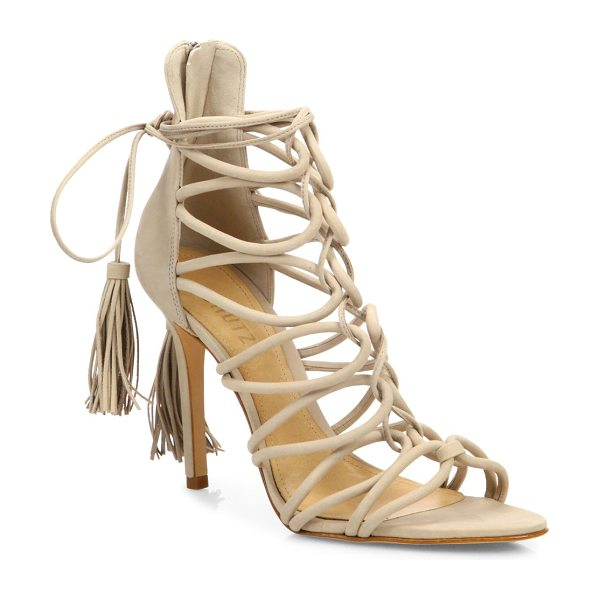 Schutz valquis suede lace-up cage sandals in oyster - Sultry suede cage sandal with tasseled lace-up tie....