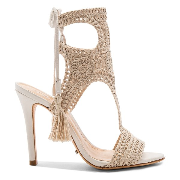 """Schutz Veca Heel in cream - """"Macrame upper with leather sole. Lace-up back with..."""