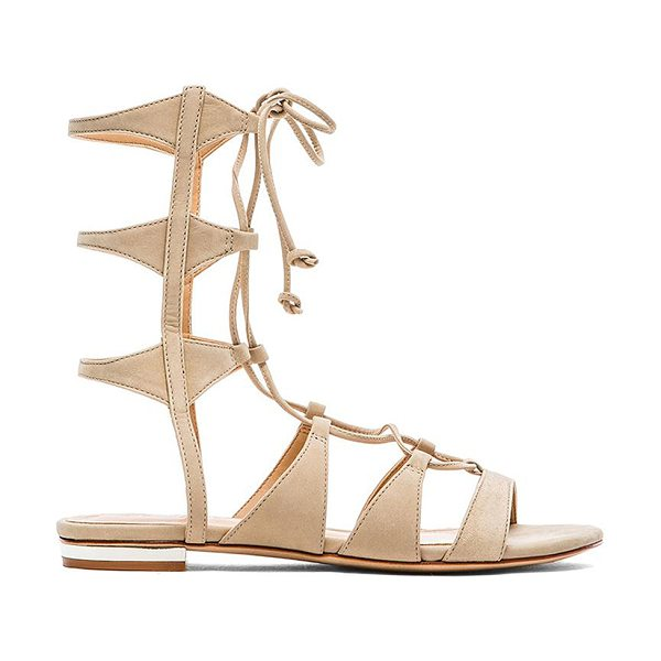 "Schutz x REVOLVE Erlina Sandal in beige - Leather upper and sole. Shaft measures approx 7"""" H...."