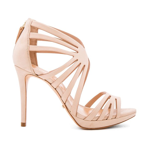 "Schutz Yasmine Heel in tan - ""Leather upper and sole. Caged cut-out detail. Back zip..."