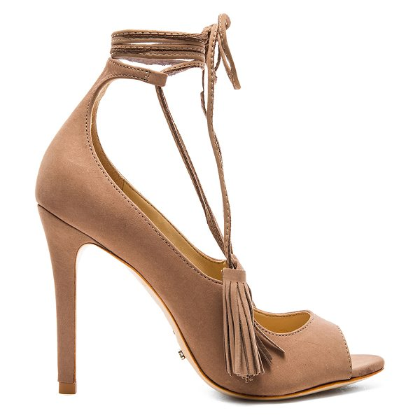 SCHUTZ Yassu Heel - Suede upper with leather sole. Lace-up front. Tassel...
