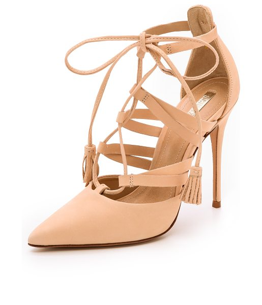 Schutz Zora lace up pumps in sand - Nubuck Schutz pumps styled with an alluring lace up...