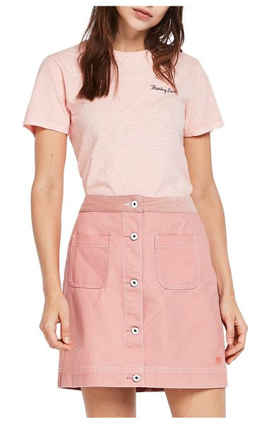 Scotch & Soda embroidered tee in pink - This comfy slubbed-cotton tee with a cute scalloped hem...