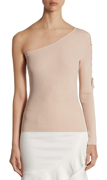Scripted lace-up one-shoulder sweater in blush lurex - EXCLUSIVELY AT SAKS FIFTH AVENUE. Classic one-shoulder...