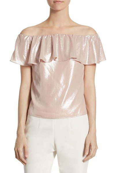 Scripted metallic off-the-shoulder blouse in light pink - Exclusively at Saks Fifth Avenue. Off-the-shoulder...