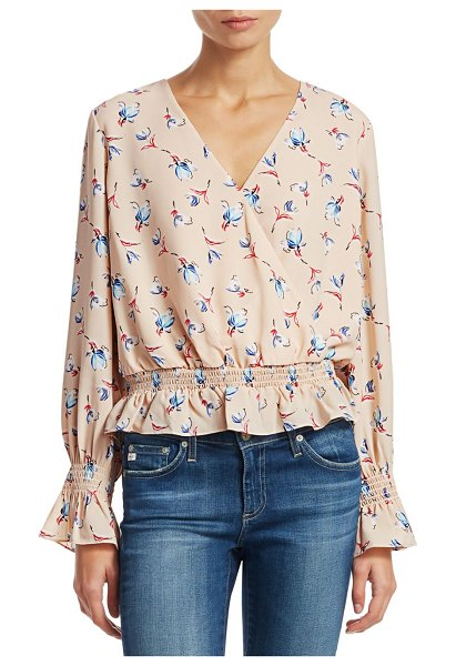 Scripted smocked bell sleeve blouse in blush multi
