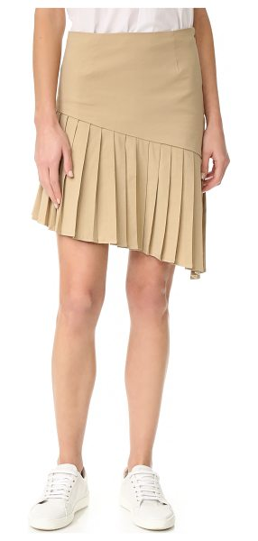 SEA asymmetrical pleated skirt in khaki - Crisp knife pleats accent the asymmetrical hem on this...