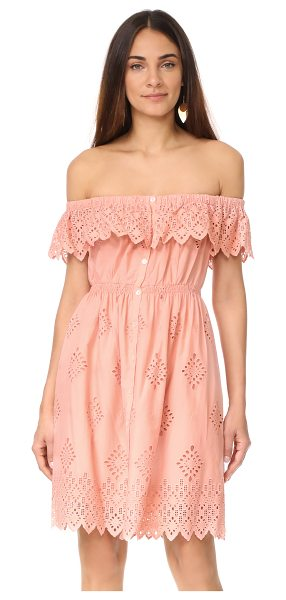 SEA daniella ruffle dress in pink - Tonal embroidery creates an intricate pattern on this...