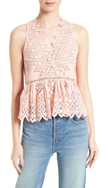 SEA diamond eyelet tank in pink - Rose-colored eyelets add a blush of spring-ready color...