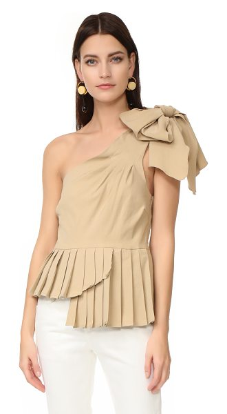 SEA one shoulder bow top in khaki - A knotted bow accents the single shoulder on this Sea...