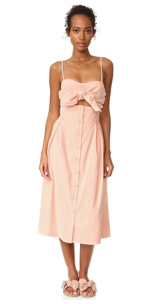 SEA tie front cutout dress in pink - Knotted bows accent the cutout bodice on this flirty Sea...