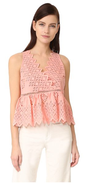 SEA v neck tank in pink - This charming Sea top is crafted in pastel eyelet and...