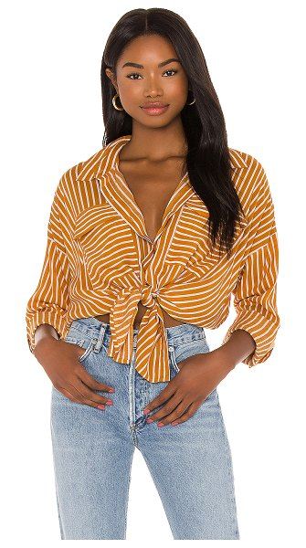 Seafolly stripe beach shirt in amber