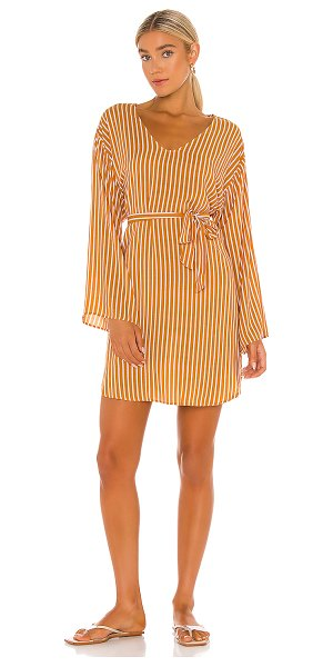 Seafolly stripe long sleeve cover up dress in amber