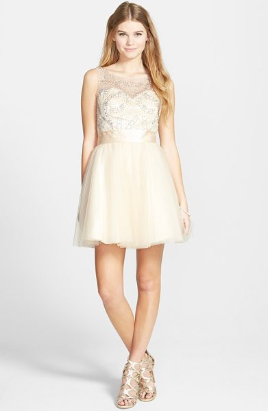 Sean Collection beaded bodice fit & flare dress in beige - Precise, beautiful beading decorates the elaborate mesh...