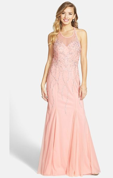 Sean Collection beaded illusion gown in pink - Twinkling constellations of beads ice the sheer mesh...