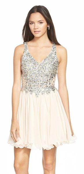 Sean Collection embellished chiffon fit & flare dress in champagne - Bright mirror-backed crystals encrust the tailored lace...