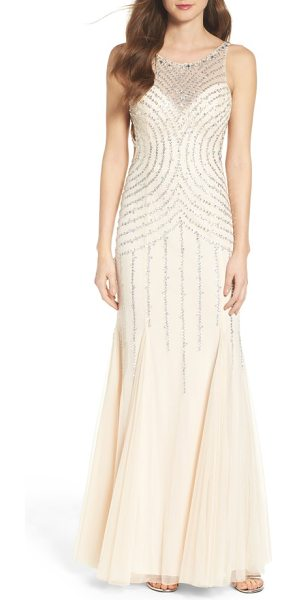 Sean Collection embellished mesh mermaid gown in champagne - A dazzling array of sequins and beadwork illuminates...