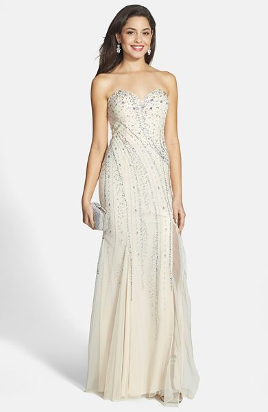 Sean Collection embellished strapless gown in champagne