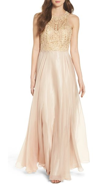 SEAN COLLECTION sean collecion embellished gown in champagne - Faint color and a temptingly sheer bodice bring...