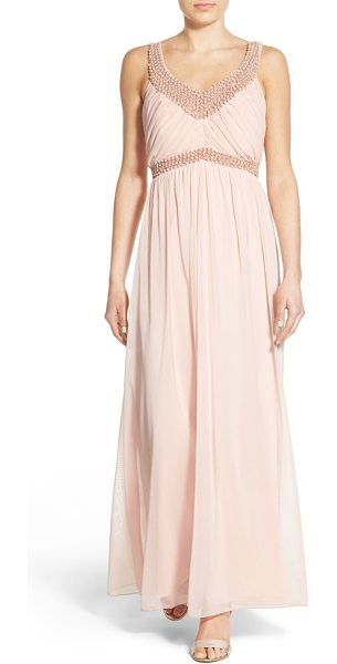 SECRET CHARM jill embellished sleeveless gown - Pearly beads brighten the neckline and waist of a...