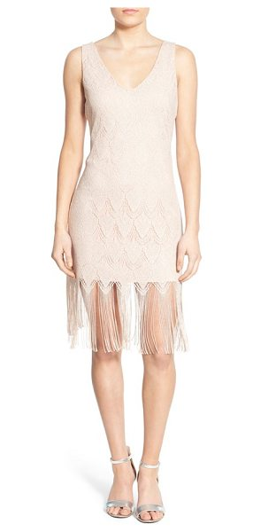 Secret Charm lace fringe sheath dress in blush - A delicate lace overlay adds feminine glamour to a...