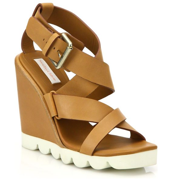 See By Chloe bisco leather wedge sandals in tan