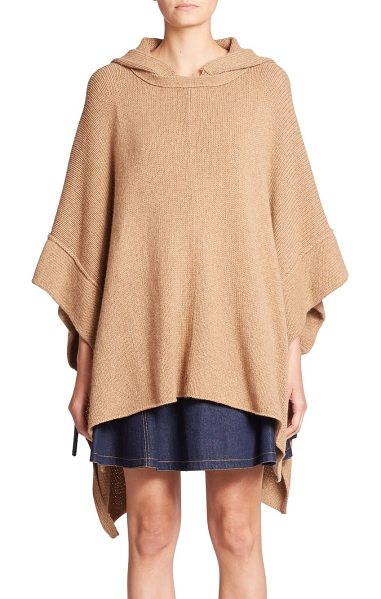 SEE BY CHLOE Hooded knit poncho in camel - This effortless, neutrally hued hooded poncho turns to...