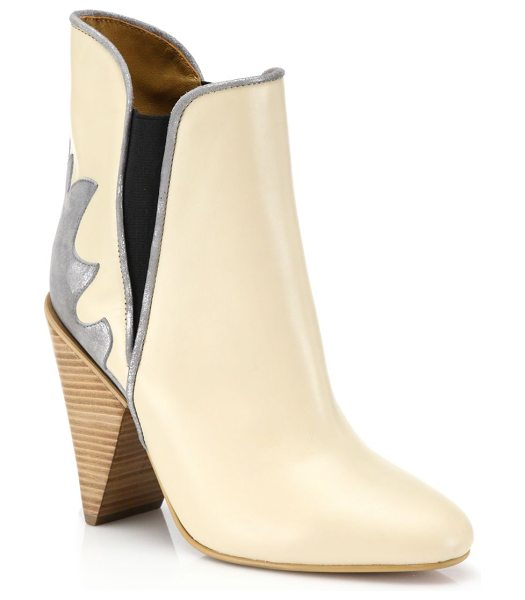 See By Chloe Skyla leather cowboy booties in cream - Classic cowboy-boot styling in modern silhouetteStacked...