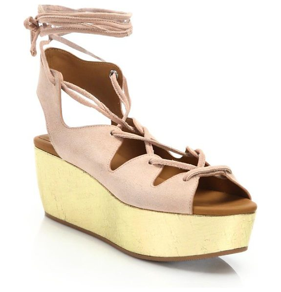 See By Chloe liana suede lace-up platform wedge sandals in pink - Metallic cork wedge illuminates suede lace-up sandal....