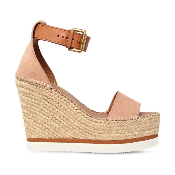 See By Chloe 120mm glynn suede wedges in blush - 120mm Rope covered wedge heel. 40mm Rope covered...