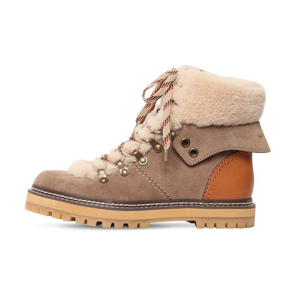 See By Chloe 20mm eileen suede & fur ankle boots in taupe