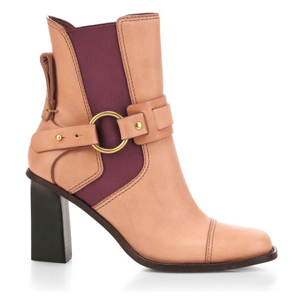See By Chloe alexis leather ankle boots in peach - Two-tone aesthetic lends colorblocking accents to these...
