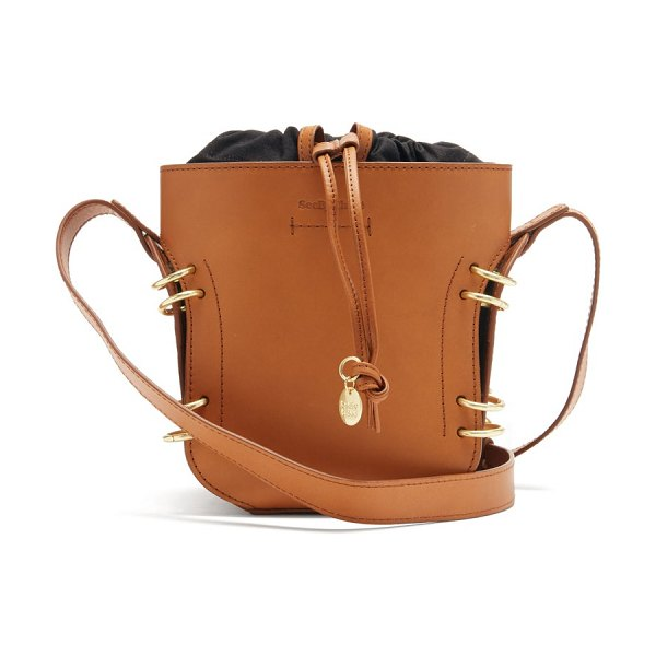 See By Chloe alvy ring-embellished leather bucket bag in tan