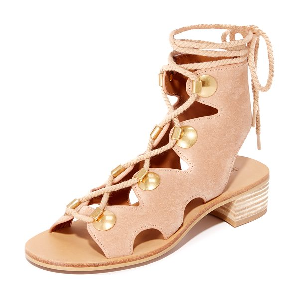 See By Chloe bill lace up sandals in cipria - Large studs trim the scalloped top line on these suede...