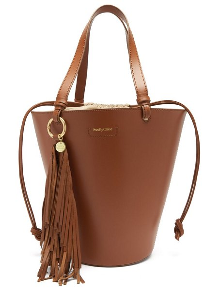 See By Chloe cecilia fringed leather bucket bag in tan