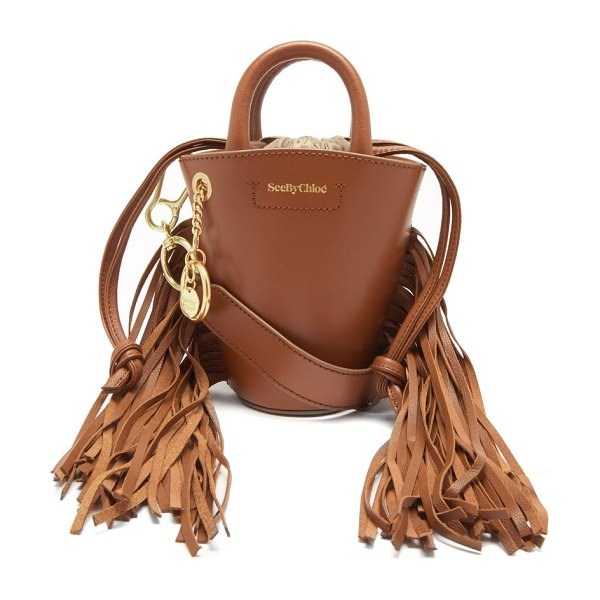 See By Chloe cecilia small fringed leather bucket bag in tan