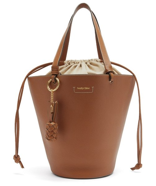 See By Chloe cecilia small grained-leather bucket bag in tan