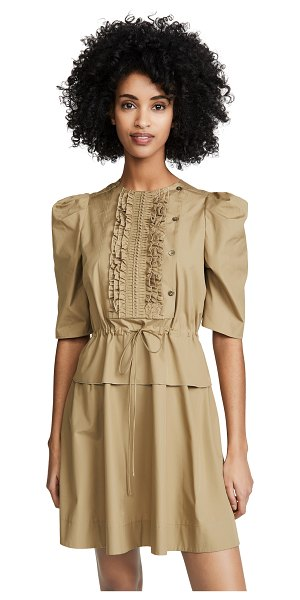 See By Chloe cinched waist dress in amber olive - Fabric: Crisp weave Pintucking at front Ruffle at waist...