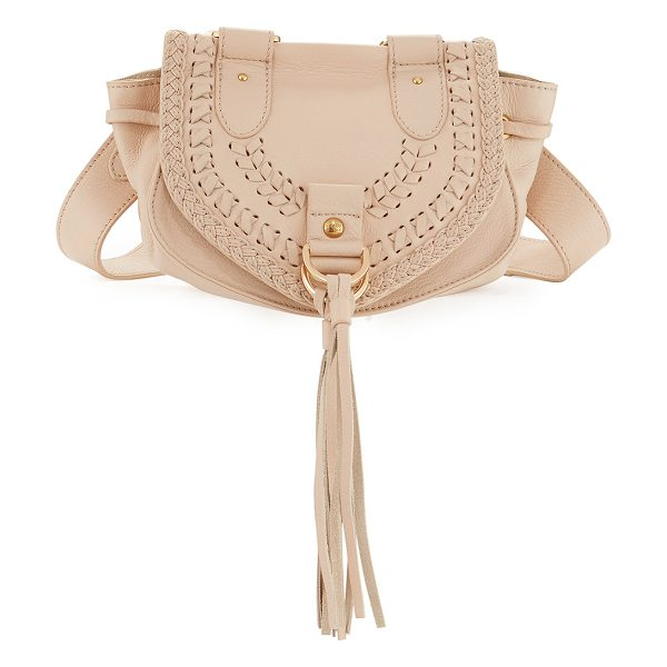 SEE BY CHLOE Collins Fringe Leather Saddle Bag in flesh - See by Chloe pebbled leather messenger bag. Removable,...