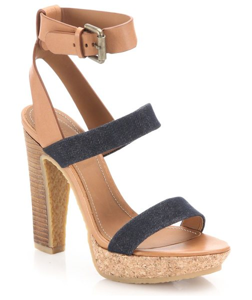See By Chloe edith denim & leather sandals in nude-denim - Chic denim and leather platforms with a cork heel....